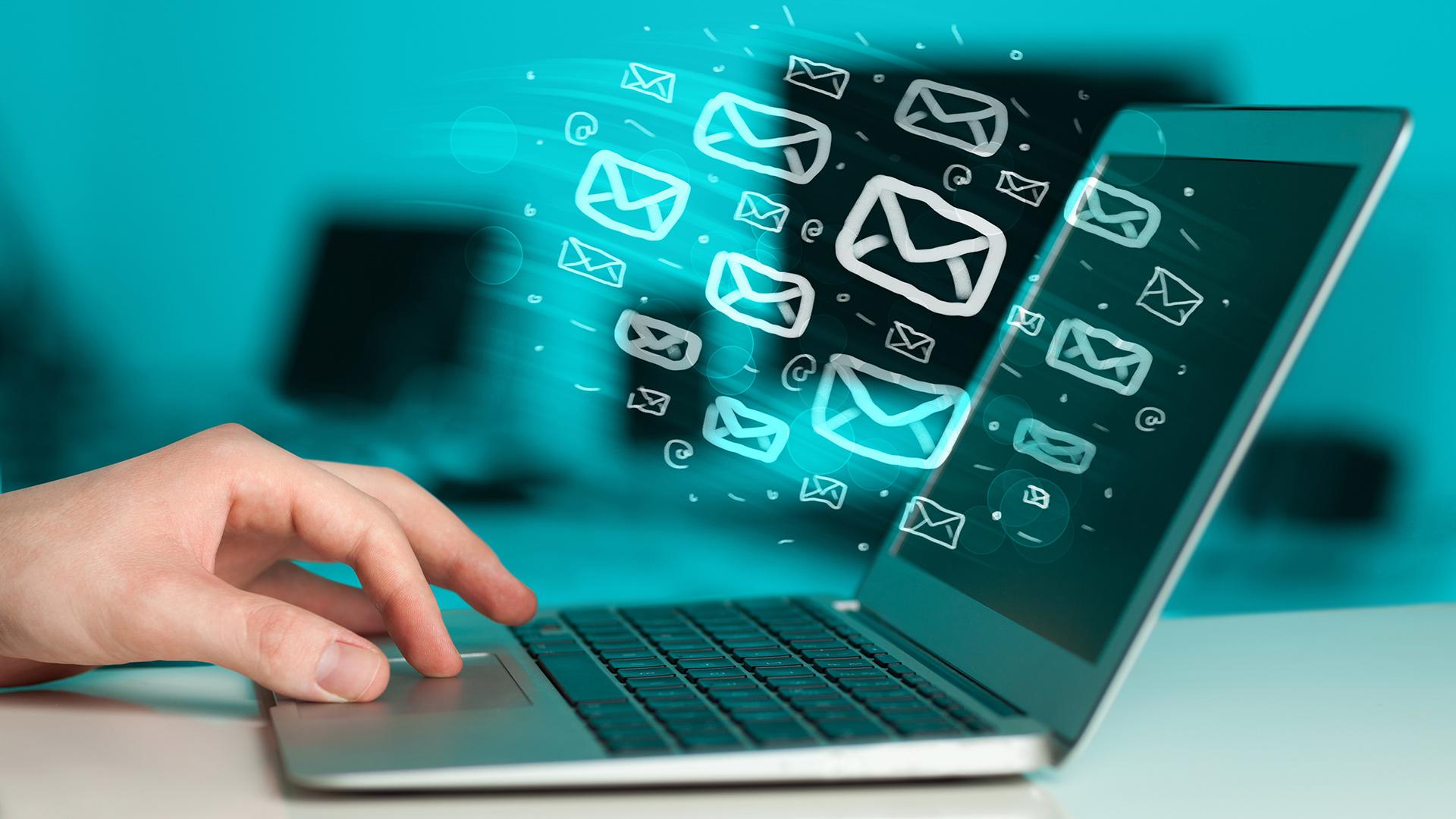E-mail on a laptop