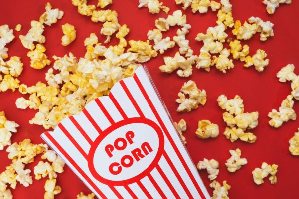 spilled-popcorn-on-a-red-background